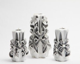 Gzhel in black-carved candles