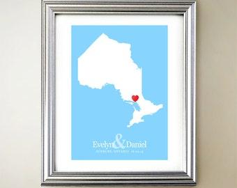 Ontario Custom Vertical Heart Map Art - Personalized names, wedding gift, engagement, anniversary date