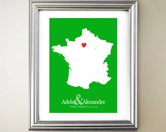 France Custom Vertical Heart Map Art - Personalized names, wedding gift, engagement, anniversary date