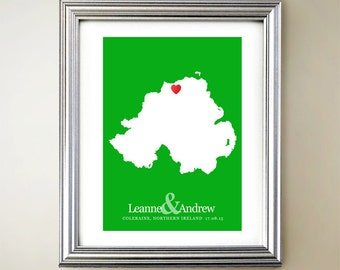 Northern Ireland Custom Vertical Heart Map Art - Personalized names, wedding gift, engagement, anniversary date