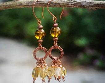 Citrine and Copper Earrings,Tribal Earrings,Quartz Earrings,African Earrings,Citrine Jewelry,Rustic Earrings,Boho Chic,Hippie Earrings