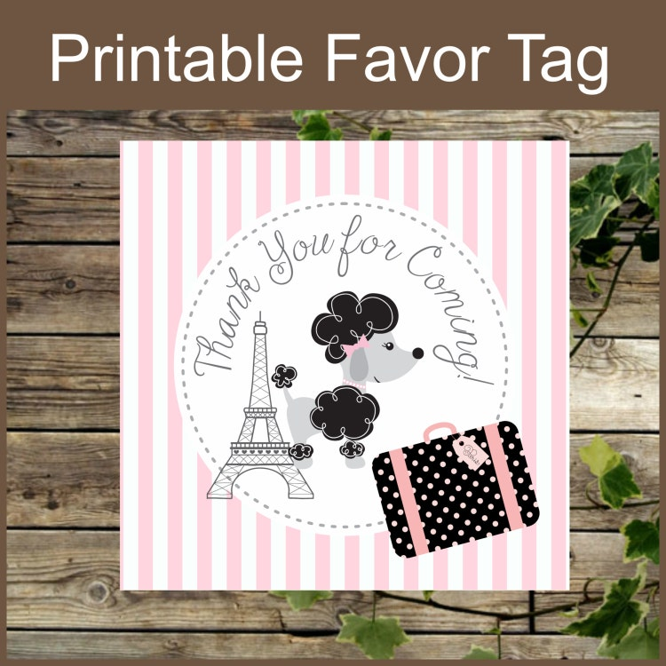 Paris Party Favor Tag Instant Download Printable By IsiDesigns