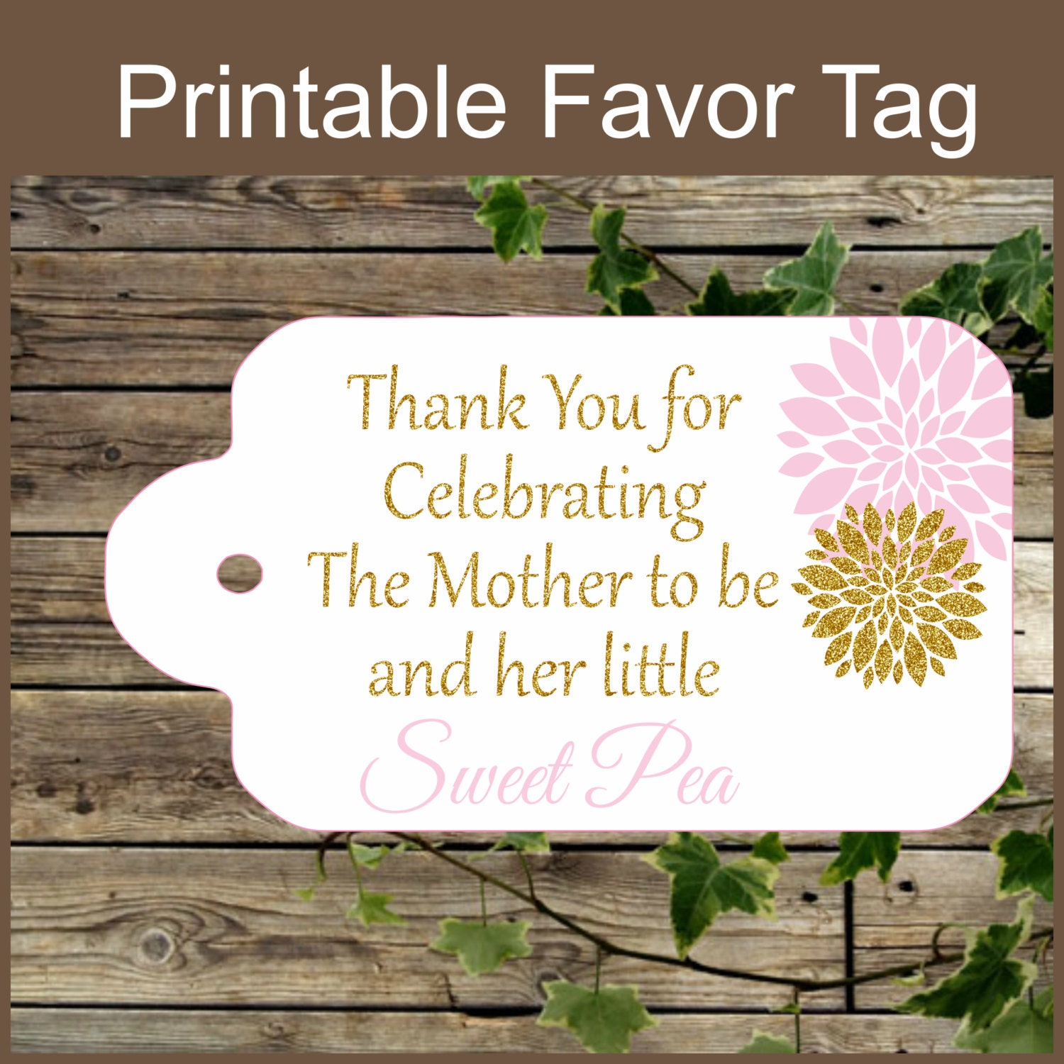 Selective image in printable baby shower favor tags