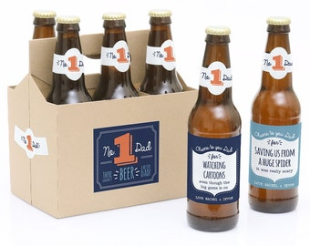 Father's Day Beer Labels - Father's Day Gift - 6 Beer Bottle Labels & 1 Carrier - Cheers to You, Dad Personalized Fathers Day Beer Kit