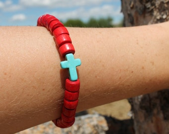 Painted wood bead bracelet #2