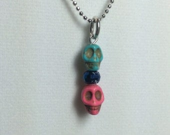 Day of the Dead Double Skull neckace charm - Small pink/blue charm only