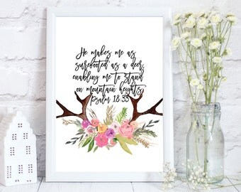 Bible verse print, bible quotes, bible verse wall art, bible verse art, He makes me as surefooted, psalm 18;33, baby bible verse, PRINT ONLY