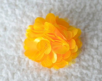 "2"" Yellow Satin Puff Flower, Wholesale Bulk Flowers for Headbands, Lot of 1, 2, 5 or 10, Yellow"
