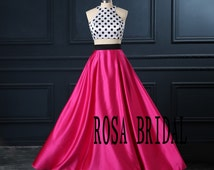 Fuschia Prom Dress two piece, homecoming dress, cocktail party dress Custom Size color