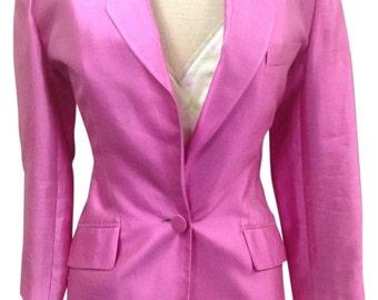 Ellen Tracy Linda Allard Silk Blend Satin Pink Jacket/Blazer Size 2