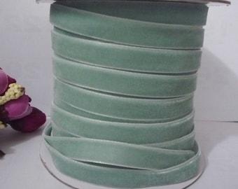Aqua Blue Velvet Ribbon Trim Craft Wrap 3/8 inch / 1cm / 10mm width W21 -063
