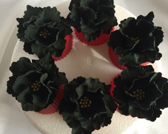 fondant flowers, 6 fondant peony fashion cupcake toppers edible flowers black gold cake toppers decorations vintage birthday wedding bridal