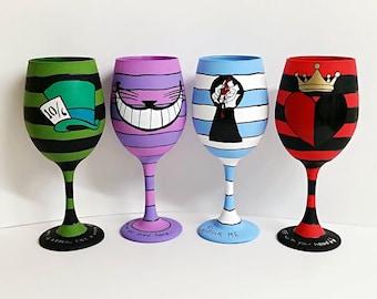 Wonderland set of 4 inspired, hand painted wine glasses.