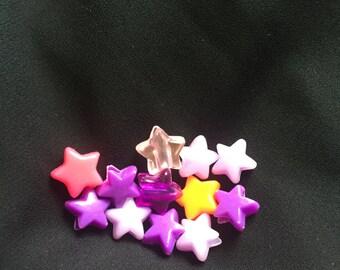 Assorted Plastic Beads Blue Purple Pink Orange Star 20ct