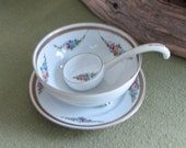 Nippon Sauce Bowl with Ladle Hand Painted Nippon Bowl with Underplate and Ladle Elegant Dining Mayonnaise or Mustard Bowl Edwardian