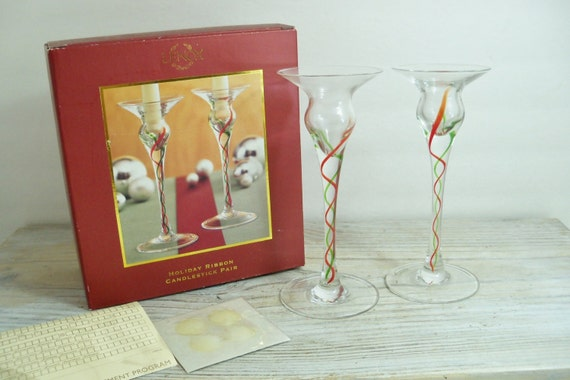 Vintage Candlesticks Lenox Christmas Holiday Ribbon Crystal Candle Holders 1990s original Box - Never Used