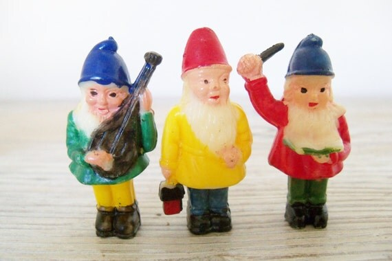 Vintage Celluloid Christmas Gnomes 1950s Made in Hong Kong 3 Pc Plastic Colorful Gnomes Elves Dwarf