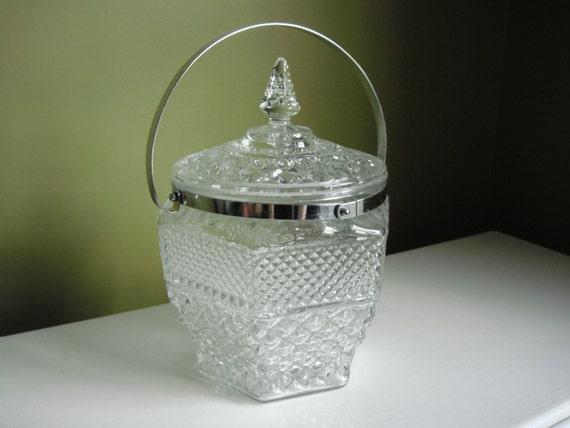 Vintge Wexford Ice Bucket W Original Tongs Anchor Hocking