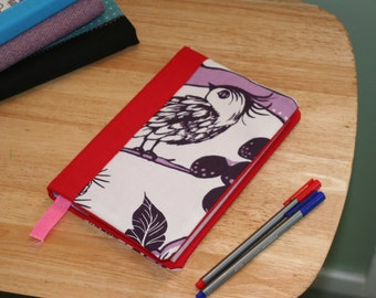 Red fabric notebook, lined notebook, lined journal, bird notebook, gift for mum, ladies gift, bird gift, pretty notebook