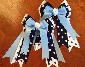 Horse Show Hair Bows/Equestrian clothing/Navy white blue