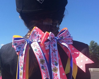 Equestrian Bows for Grandma's Girl/pink blue hair accessory/Ready2Mail