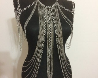 Silver Body Chain, Shoulder Chain / Shoulder Necklace / Body harness / Body jewelry / Wedding Jewelry / Festival Costume