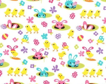 Spring Meadow Fabric Micheal Miller Bunnies Rabbit Flowers High Quality Cotton
