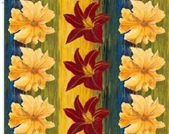 "35"" The Edible Garden Stephanie Brandenburg Frond Design Studios Squash Blossoms and Dayliles 100% Cotton Fabric Out Of Print"