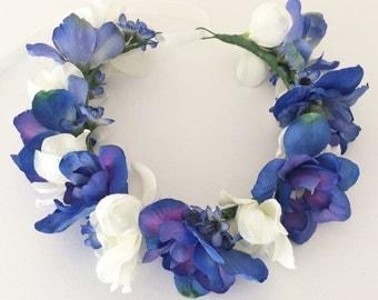 Handmade Flower Crown in Blue and Ivory - Flowergirl - Wedding - Hairpiece