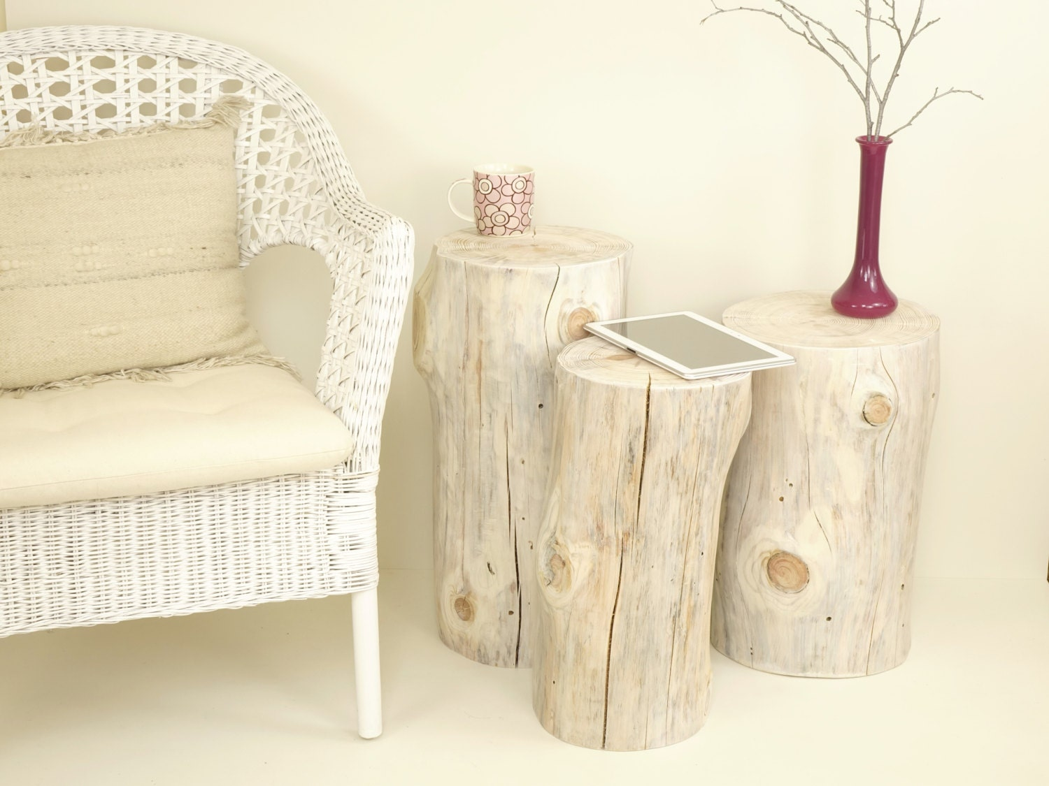 10 off set de 3 blanc souche darbre et table tronc de bois - Tronc arbre decoration interieur ...
