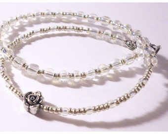 Ankle chain or bracelet wrap double. Pearls iridescent, silvery glass, silvered and a Rose old silver tint. Custom made product.