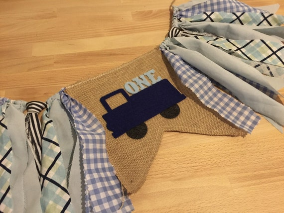 Blue truck birthday banner little truck highchair by for Little blue truck fabric