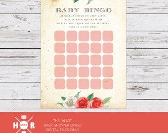 INSTANT DOWNLOAD Printable - The 'Alice' in Wonderland Baby Shower Bingo | Watercolour | Tea themed