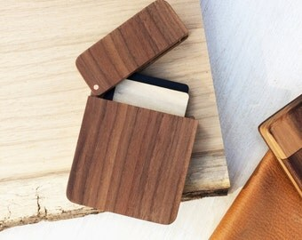 Wooden card holder - hipster mens cardholder - rustic card holder - wooden box with lid - rustic accessory - five year anniversary gift men