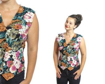 Floral vest, Bright flower vest, Vintage vest, Floral waistcoat,  80s woman vest, Flower vest, Waistcoat Womens, Tapestry vest / Medium