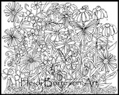 Adult Coloring Page, Flower Power
