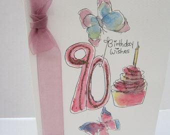 90th Birthday card, watercolour card, 90th birthday, handmade card, hand painted card, wife card, mum card, grandmother card, personalise