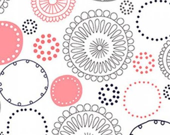 50 inch Shannon Fabrics Coral Whimsy Circles Embrace Double Gauze By the Yard  EMWHIMSY-COR