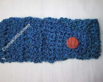 Crochet Headband, Royal Blue Headband, Acrylic Headband, Gift for Woman, Gift for Teen, Vintage Buttons