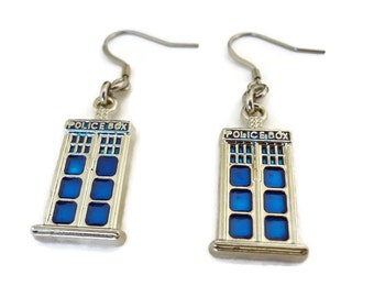 Vintage Silver Doctor Who Earrings Tardis Police Box