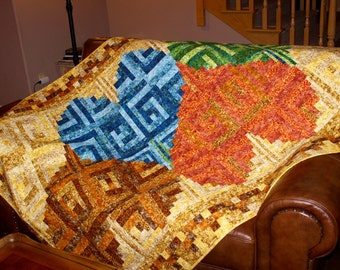 """Log Cabin Hearts Quilt Pattern -  Labyrinth of Hearts - Wedding - Love - Valentine's - size: 55"""" x 80"""""""