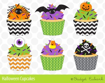 Halloween Clip Art, Halloween Cupcakes, Personal & Commercial Use Clip Art, 6 PNG Images, Instant Download - CA009