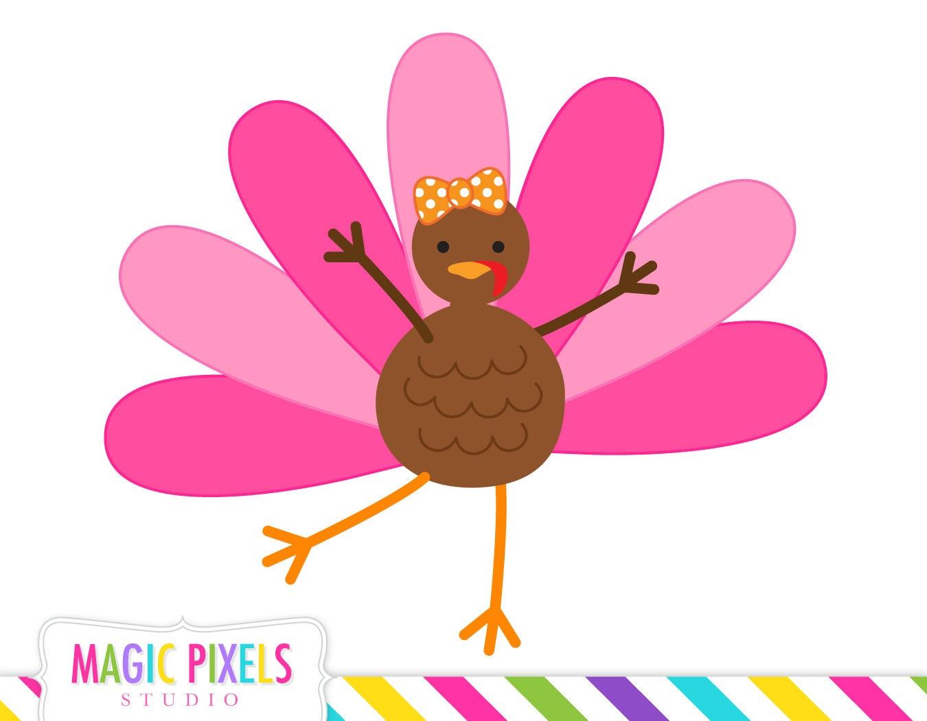 Turkey clip art, Thanksgiving clip art, cute turkey, girl ...