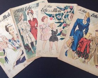 Collection of vintage 50s fashion magazines pages craft framing scrap booking collectors Echo de la Mode