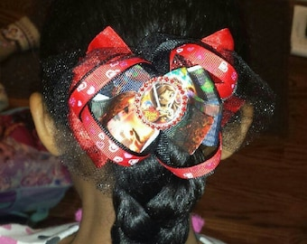 The Book of Life Triple Layer Red and Black Pinwheel Stacked Boutique Hair Bow with GOURGEOUS Red Rhinestones in the Center!