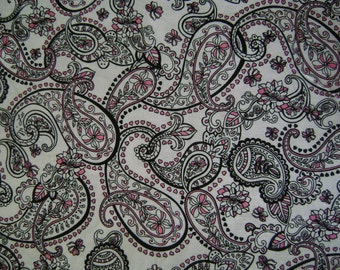 Pink & Black Paisley Sold by the Yard