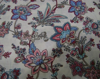 Cream Floral Cotton Fabric by the yard