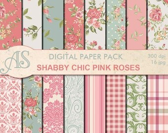 Digital Shabby Chic Pink Roses Paper Pack, 16 printable Digital Scrapbooking papers, retro roses Digital Collage, Instant Download, set 127
