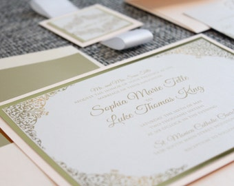 Blush and Gold Wedding Invitations, Wedding Invitations, Gold, Blush, DEPOSIT to get started