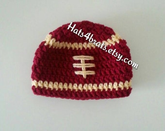 San Francisco 49ers Crochet Football Hat, Baby Crochet Hat, Newborn Crochet Hat, Baby Football Hat, 49ers Crochet Hat, Newborn Photo Prop